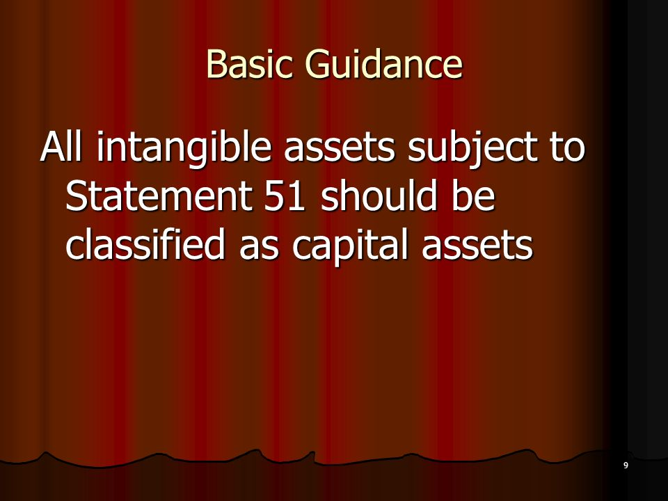 Basic Guidance All intangible assets subject to Statement 51 should be classified as capital assets