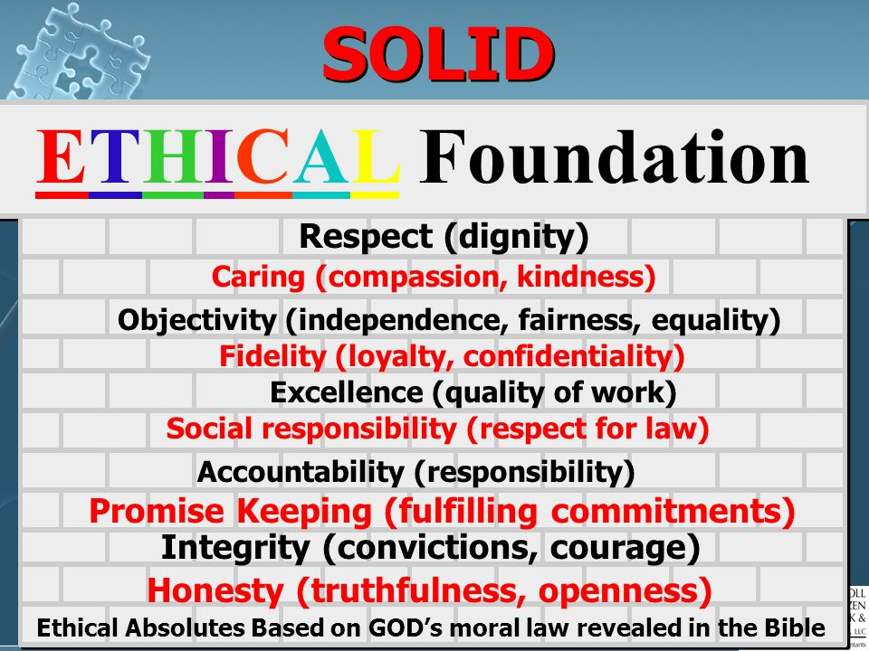 ETHICAL Foundation SOLID Respect (dignity)
