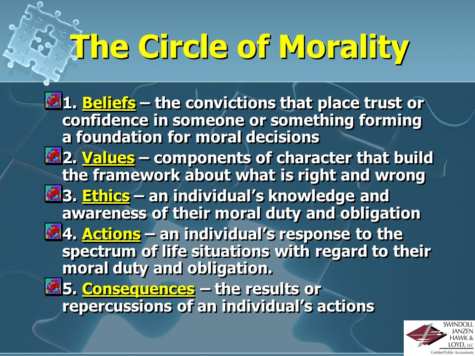 The Circle of Morality 1. Beliefs – the convictions that place trust or confidence in someone or something forming a foundation for moral decisions.