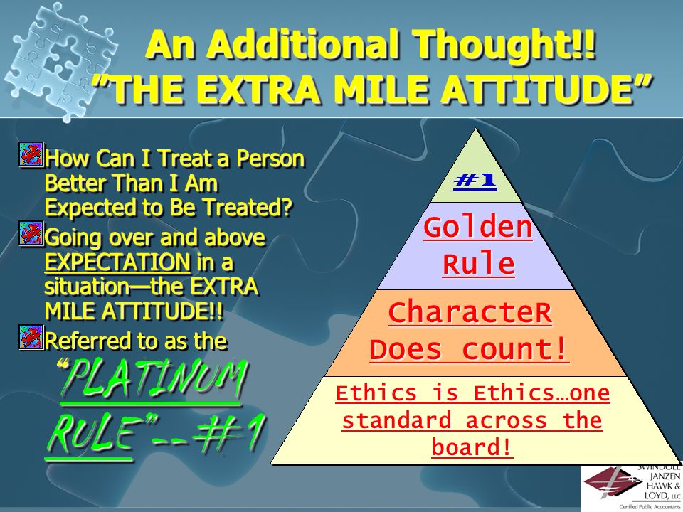 An Additional Thought!! THE EXTRA MILE ATTITUDE