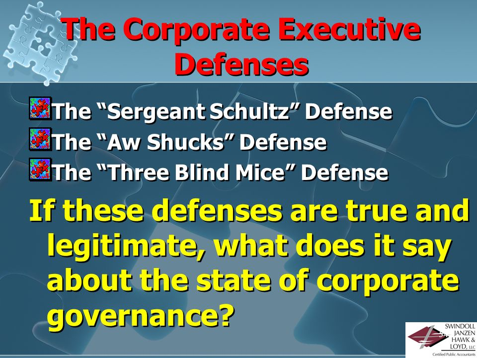 The Corporate Executive Defenses