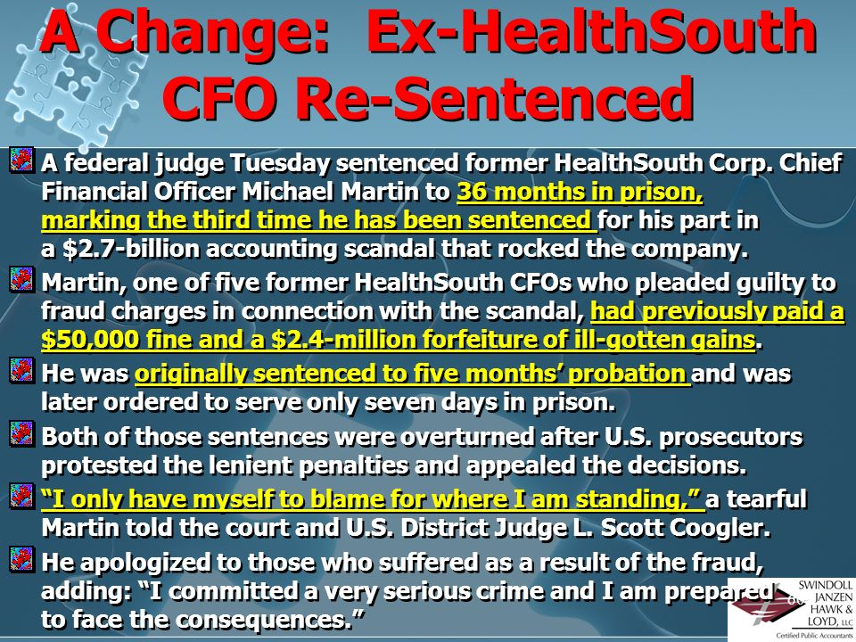 A Change: Ex-HealthSouth CFO Re-Sentenced