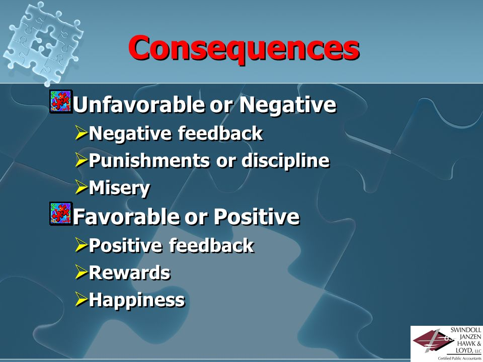 Consequences Unfavorable or Negative Favorable or Positive