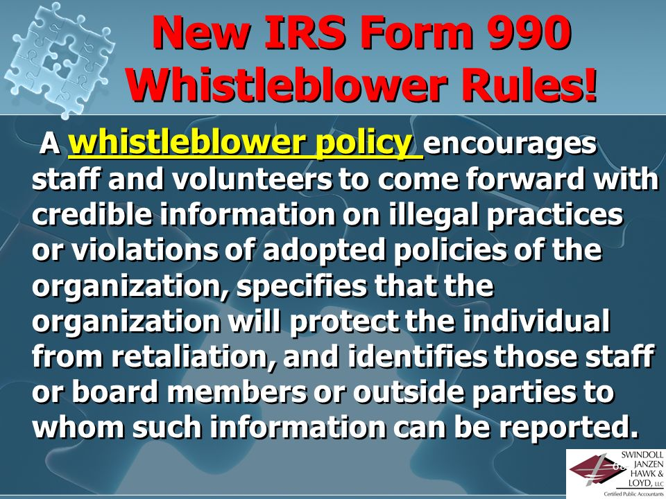New IRS Form 990 Whistleblower Rules!