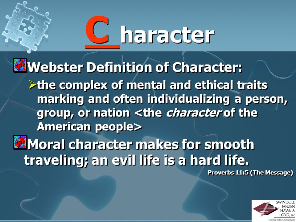 C haracter Webster Definition of Character: