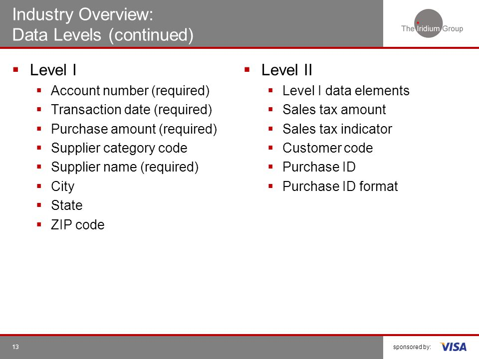 Industry Overview: Data Levels (continued)