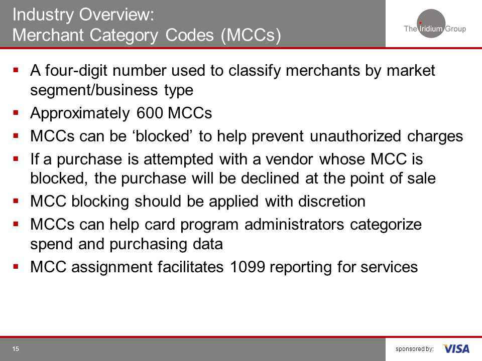 Industry Overview: Merchant Category Codes (MCCs)