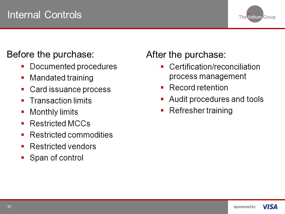 Internal Controls Before the purchase: After the purchase: