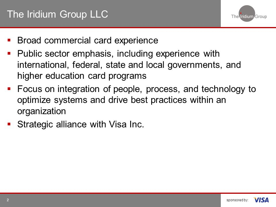 The Iridium Group LLC Broad commercial card experience