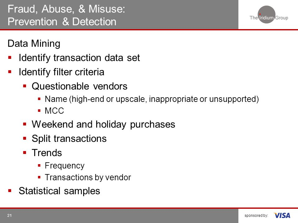 Fraud, Abuse, & Misuse: Prevention & Detection