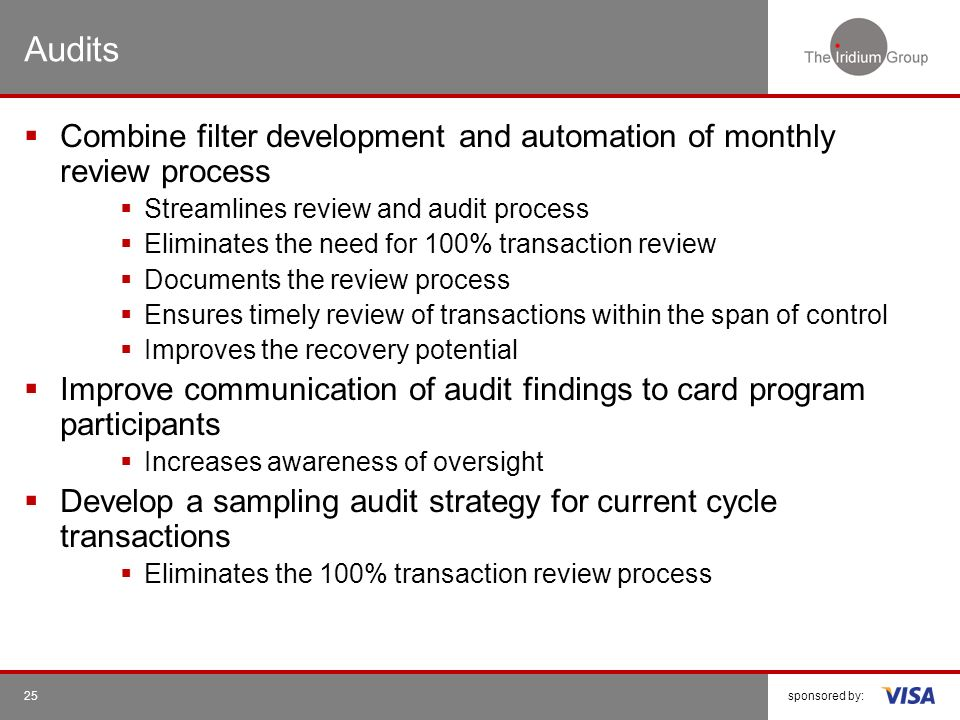 Audits Combine filter development and automation of monthly review process. Streamlines review and audit process.