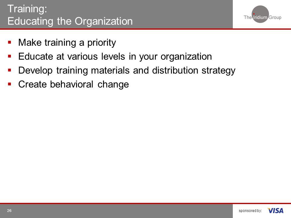 Training: Educating the Organization