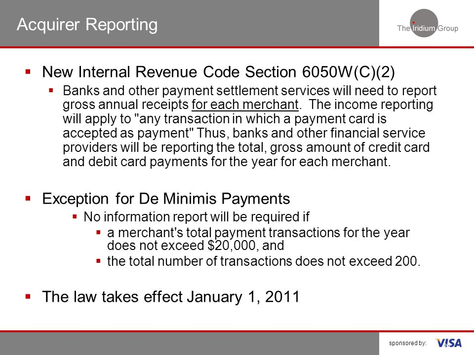 Acquirer Reporting New Internal Revenue Code Section 6050W(C)(2)