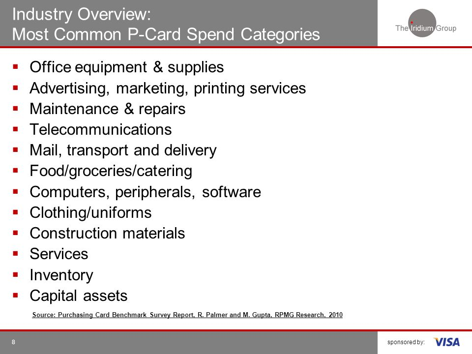 Industry Overview: Most Common P-Card Spend Categories