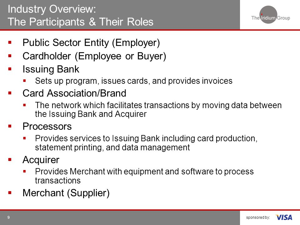 Industry Overview: The Participants & Their Roles