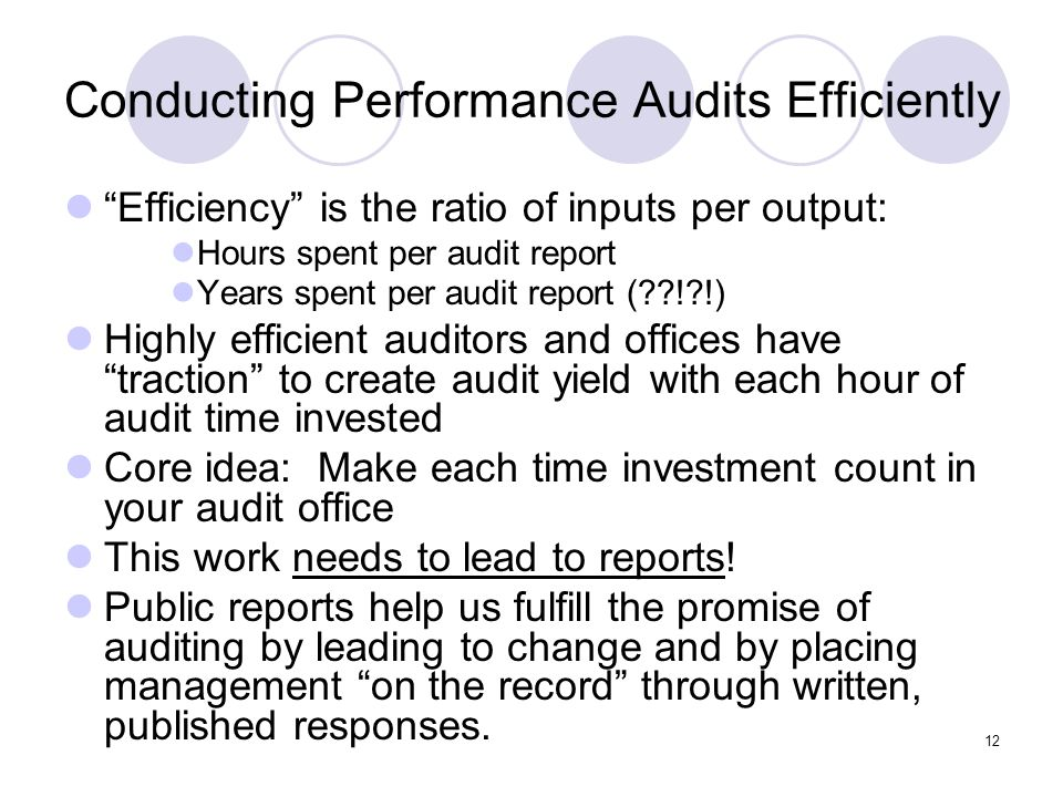 Conducting Performance Audits Efficiently