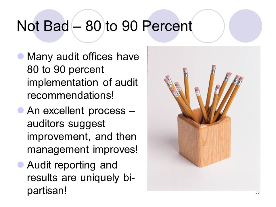 Not Bad – 80 to 90 Percent Many audit offices have 80 to 90 percent implementation of audit recommendations!