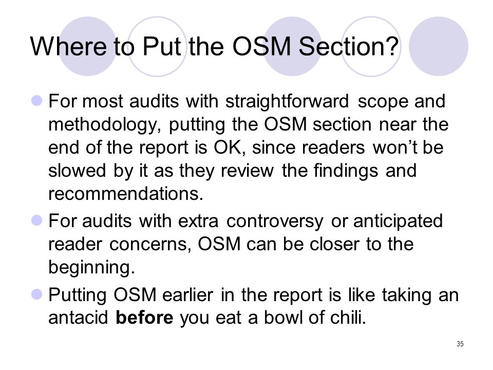 Where to Put the OSM Section