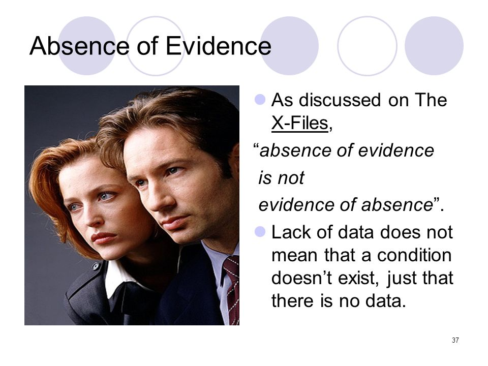 Absence of Evidence As discussed on The X-Files, absence of evidence