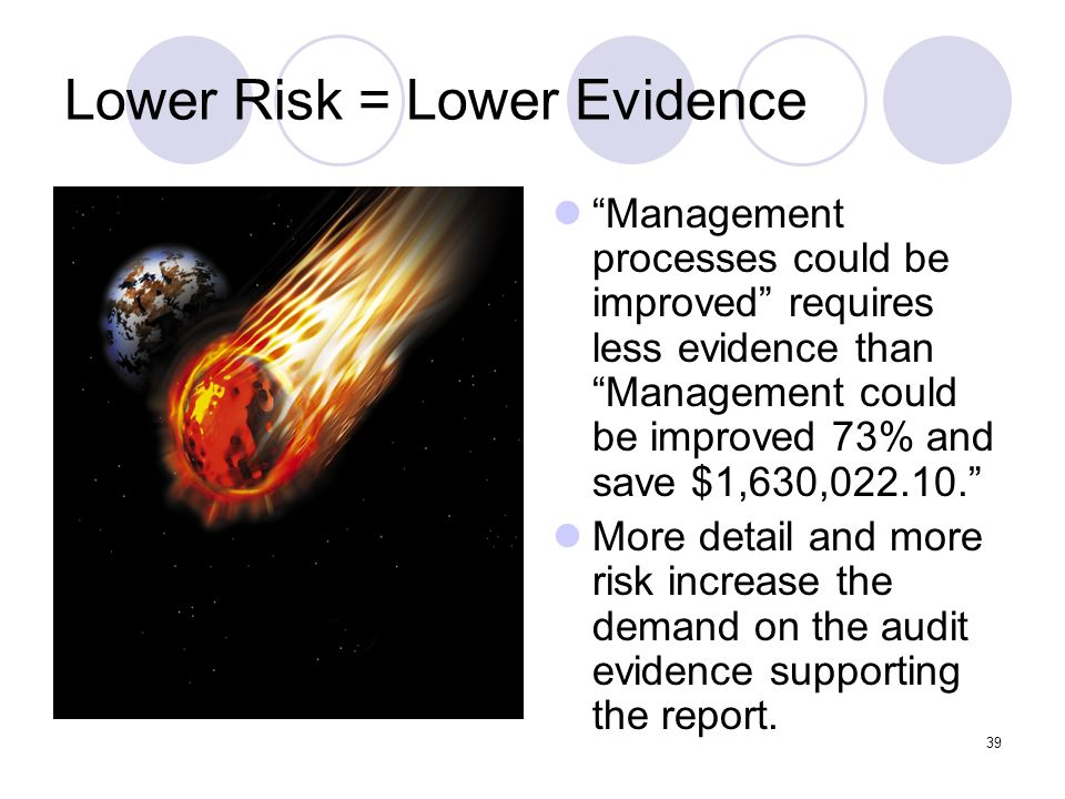 Lower Risk = Lower Evidence