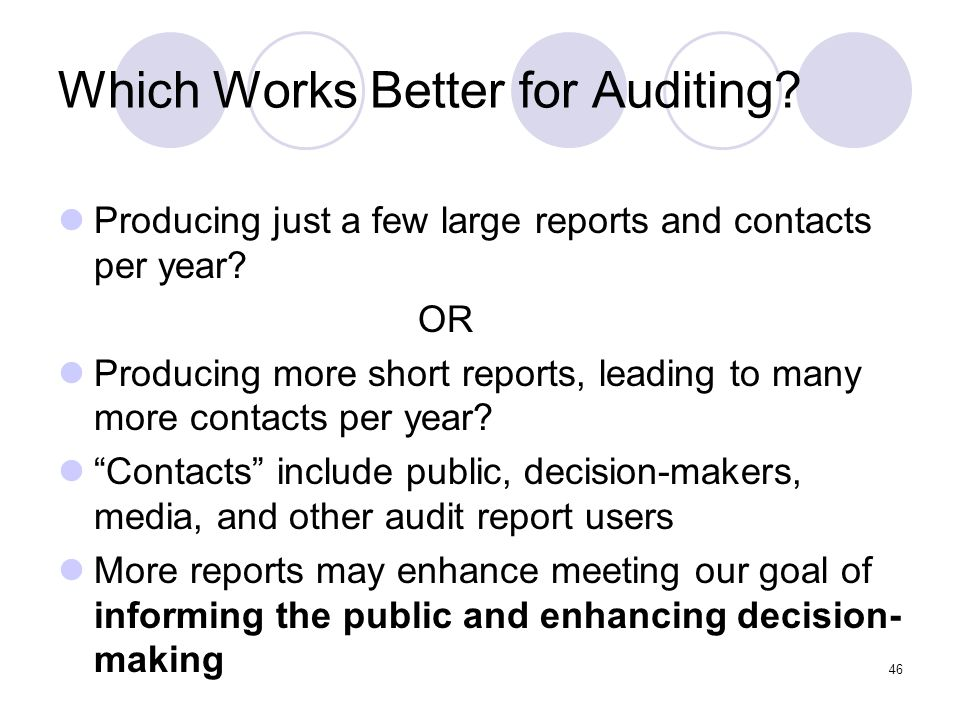 Which Works Better for Auditing
