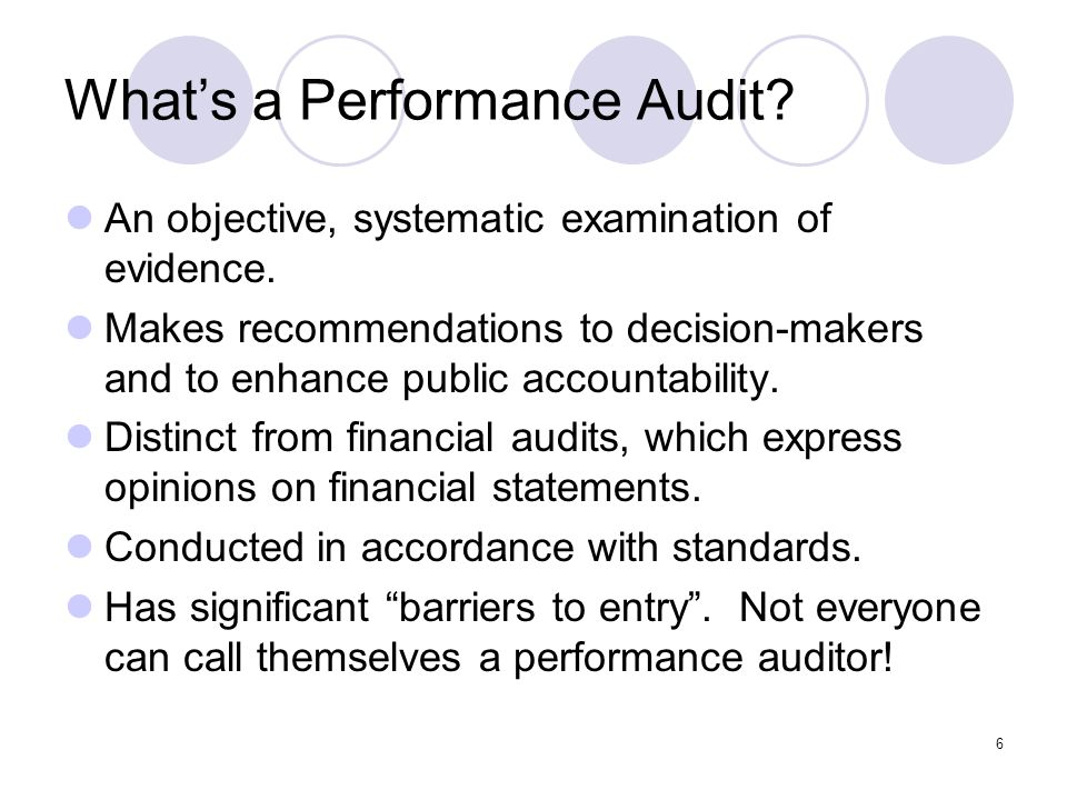 What's a Performance Audit