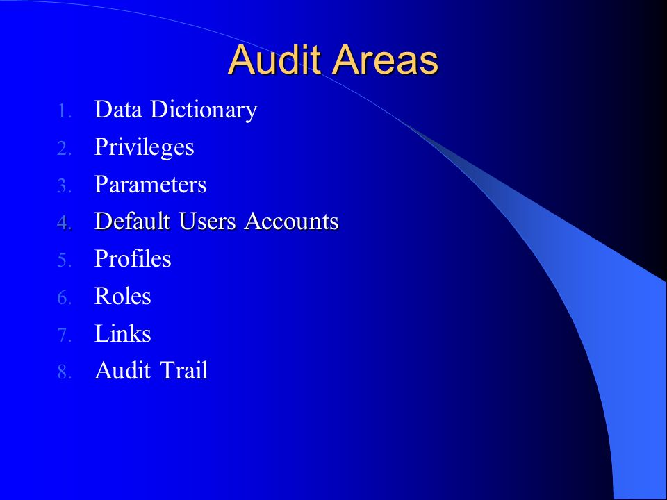 Audit Areas Data Dictionary Privileges Parameters