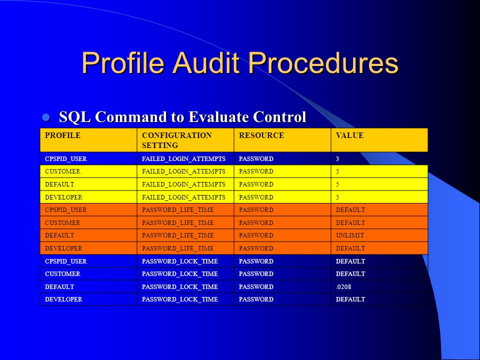Profile Audit Procedures