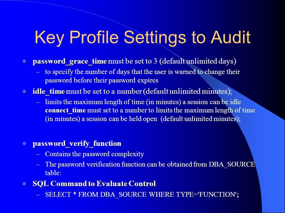 Key Profile Settings to Audit