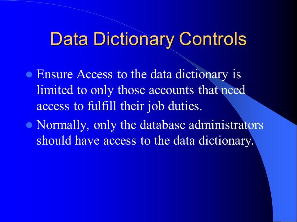 Data Dictionary Controls