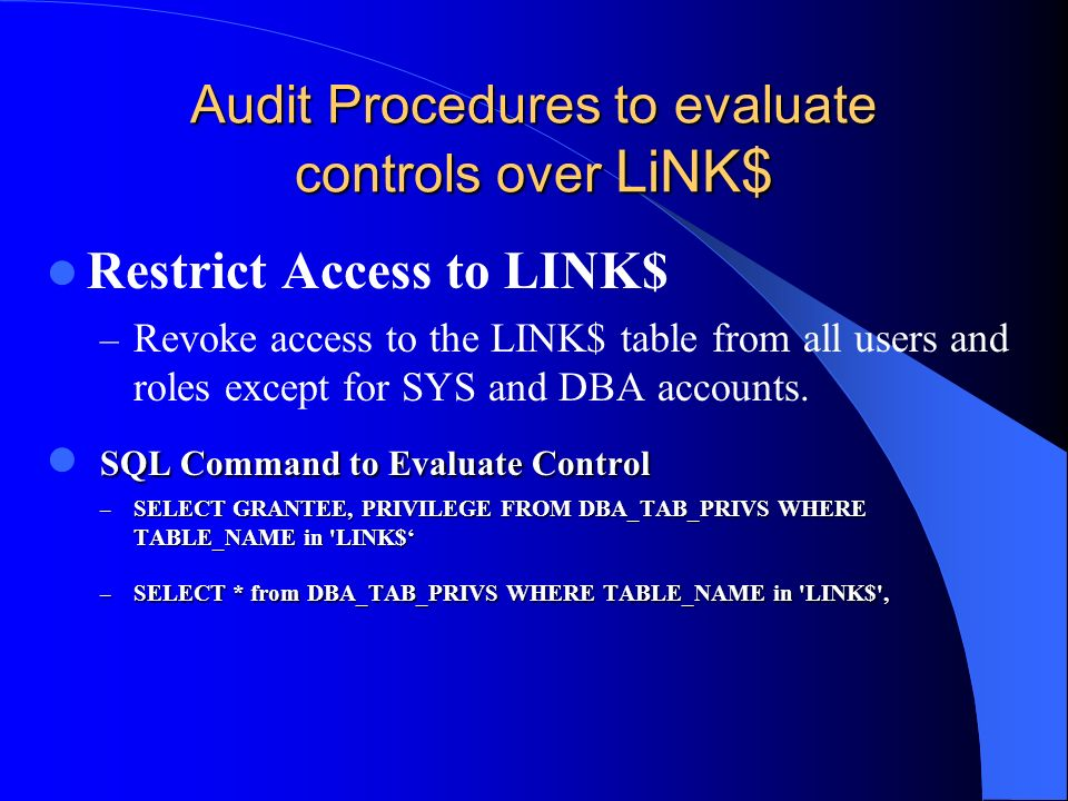 Audit Procedures to evaluate controls over LiNK$