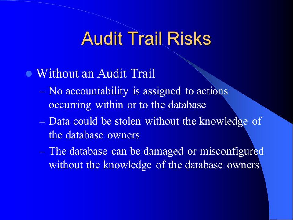Audit Trail Risks Without an Audit Trail