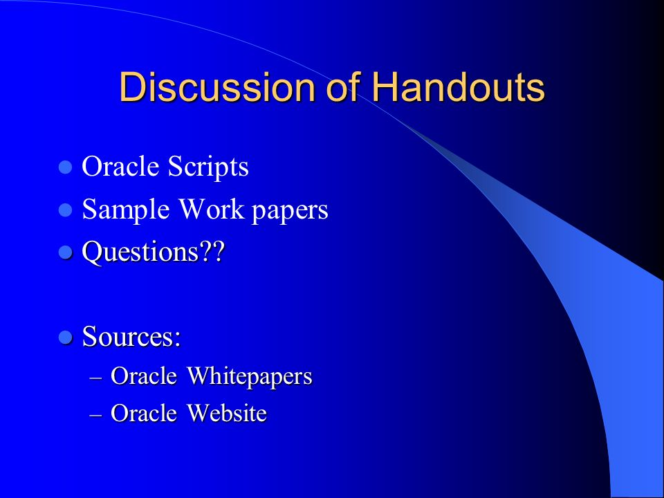 Discussion of Handouts