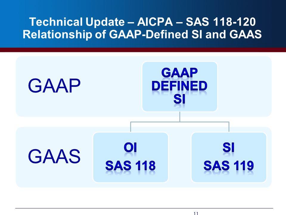 GAAP GAAS GAAP Defined SI OI SAS 118 SI SAS 119