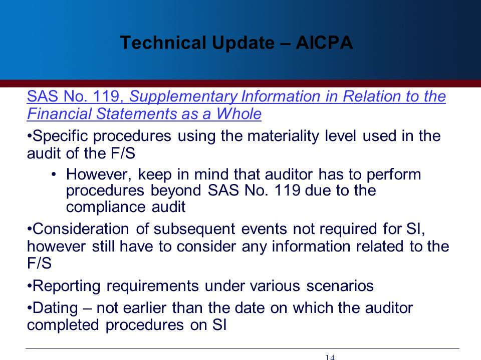 Technical Update – AICPA