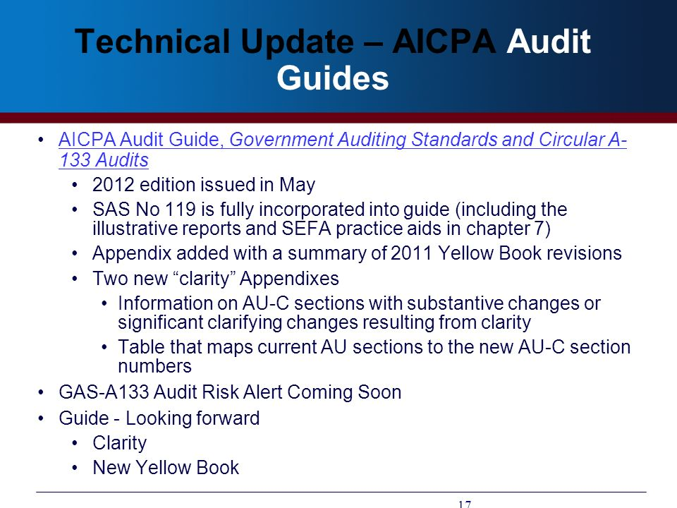 Technical Update – AICPA Audit Guides