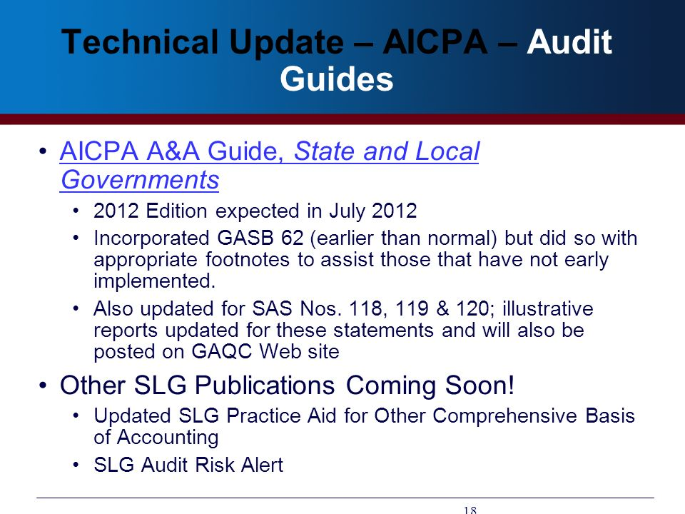 Technical Update – AICPA – Audit Guides