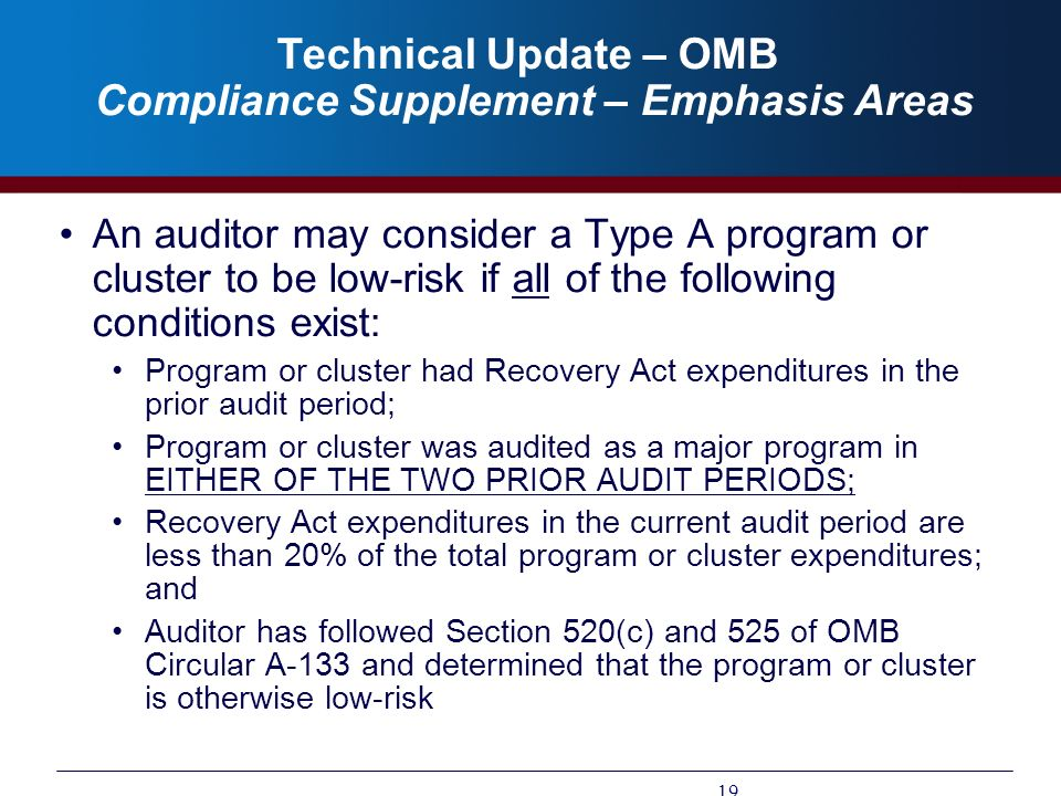 Technical Update – OMB Compliance Supplement – Emphasis Areas