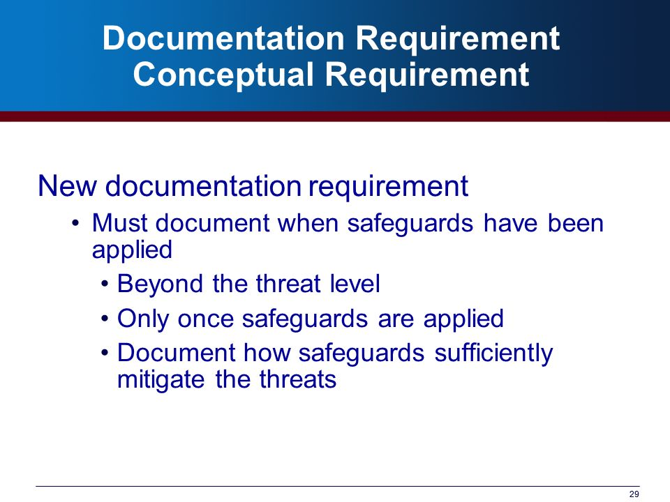 Documentation Requirement Conceptual Requirement