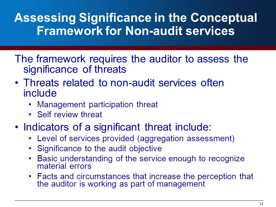 Assessing Significance in the Conceptual Framework for Non-audit services