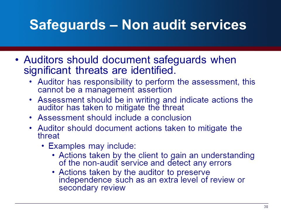 Safeguards – Non audit services