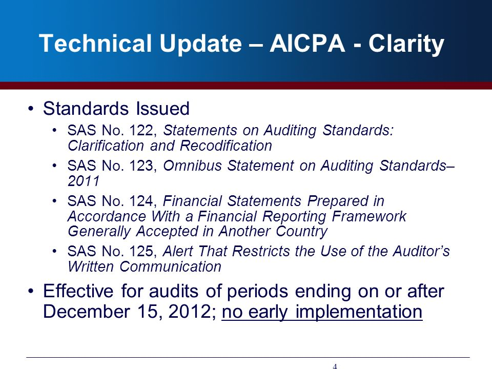 Technical Update – AICPA - Clarity