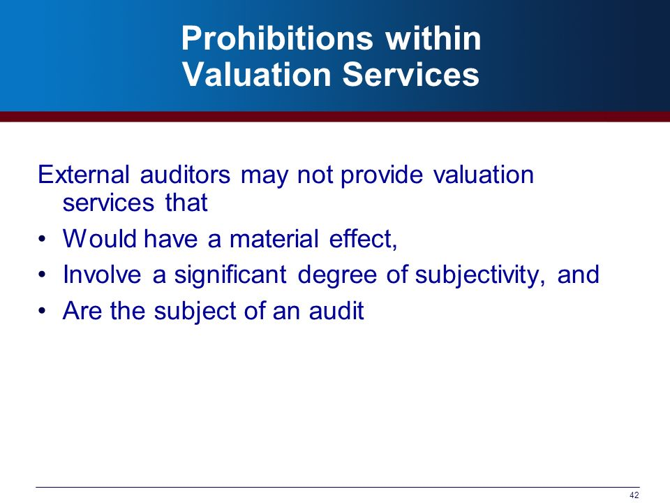 Prohibitions within Valuation Services
