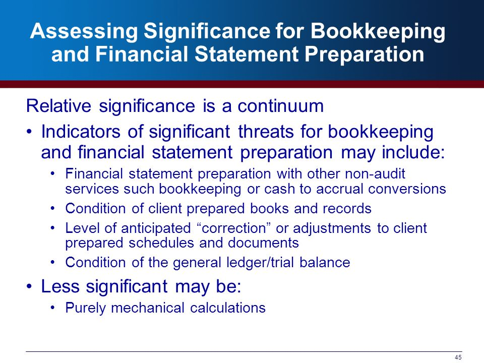 Assessing Significance for Bookkeeping and Financial Statement Preparation