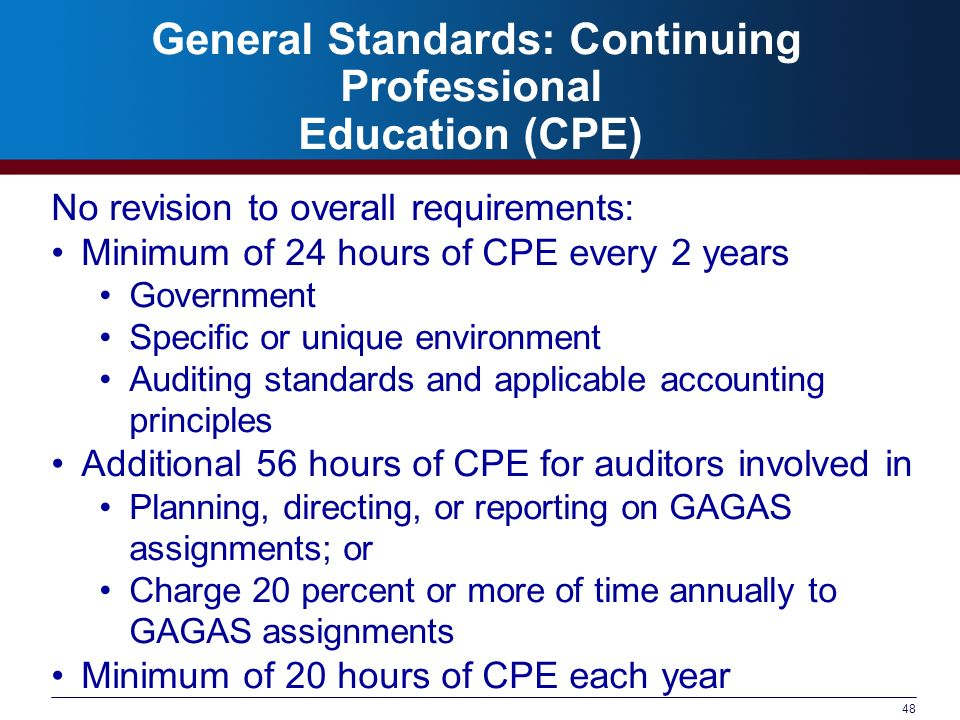 General Standards: Continuing Professional Education (CPE)