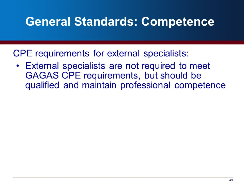 General Standards: Competence