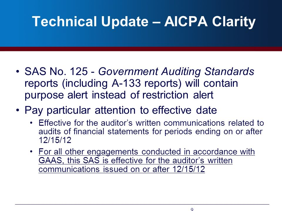 Technical Update – AICPA Clarity
