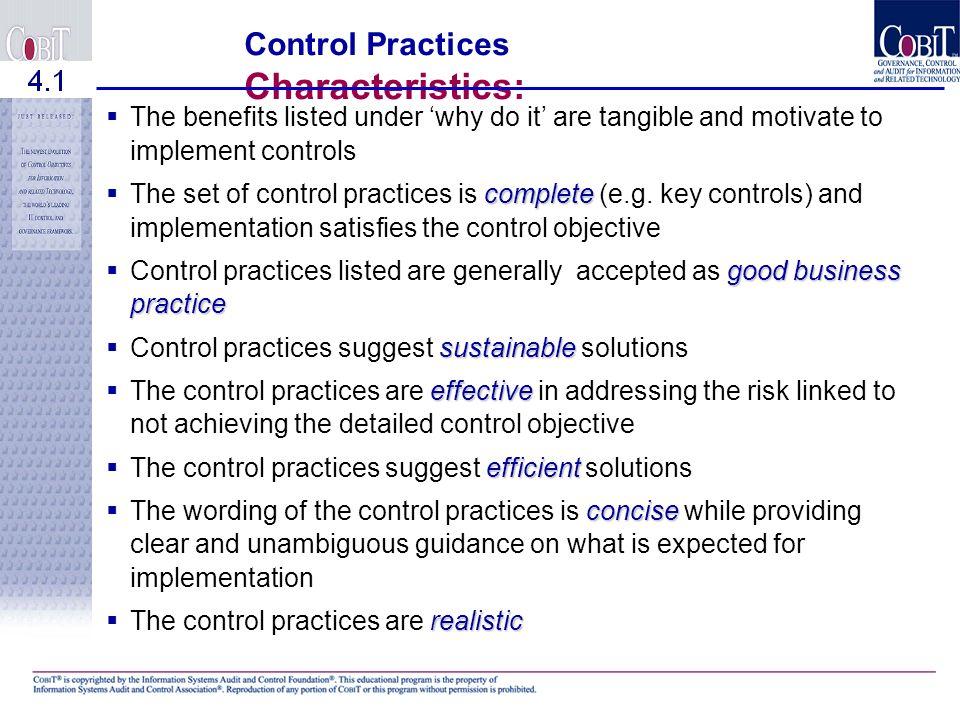 Control Practices Characteristics: