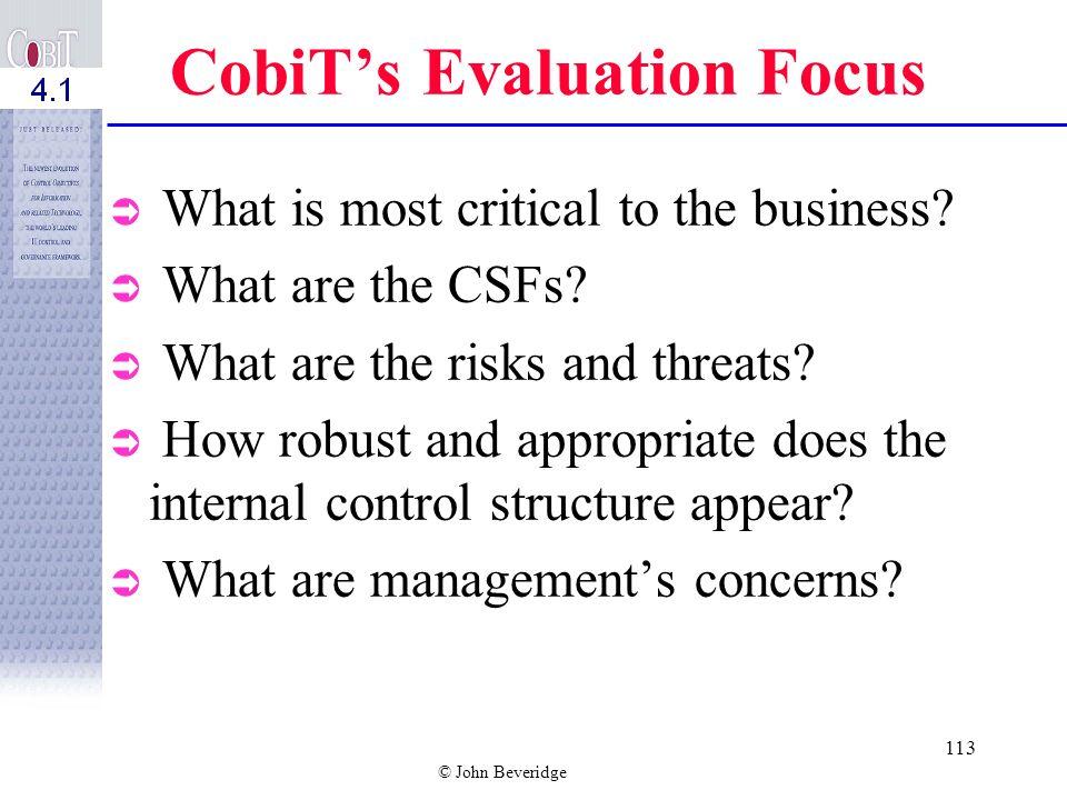 CobiT's Evaluation Focus