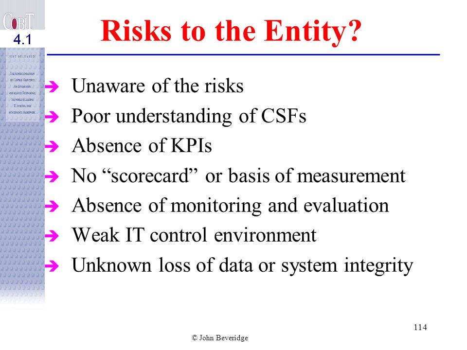 Risks to the Entity Unaware of the risks Poor understanding of CSFs